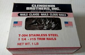 Clendenin Brothers T 304 Stainless Steel Trim Nails 1 1 4 Lot 8 1lb Boxes