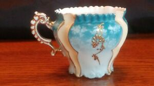 Blue Gold Floral Vintage Teacup Painted White Design Flower