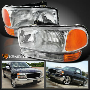 1999 2006 Gmc Sierra 00 06 Yukon 1500 2500 3500 Headlights bumper Parking Lamps
