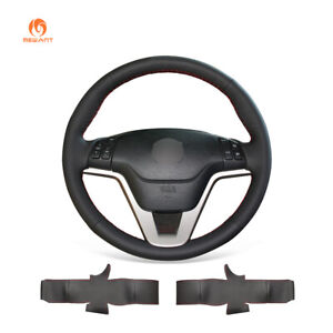 Diy Black Artificial Leather Steering Wheel Cover For Honda Cr V Crv 2007 2011