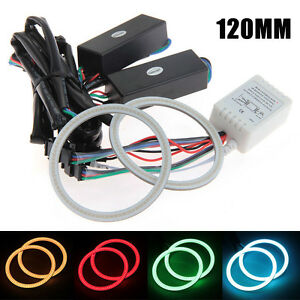 120mm Rgb Multi Color Flash Smd Led Angel Eyes Halo Rings Remote Controller Kit
