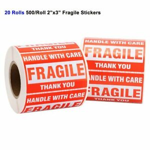 20 Rolls 2x3 Fragile Stickers Handle With Care Thank You Warning Labels 500 roll