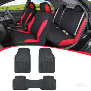 12pc Car Seat Covers Rubber Floor Mats Interior Set Red Black Sedan Truck Suv