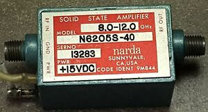 Narda Solid State Amplifier N6205s 40 Freq 8 0 To 12ghz