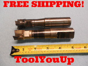 2 Pcs 1 Dia Indexable End Mill With 1 Dia Arbor Coolant Thru Machine Shop Tool