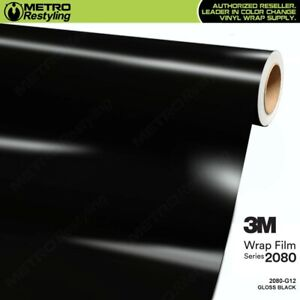 3m 2080 Series Gloss Black Vinyl Vehicle Car Wrap Decal Film Roll G12