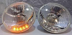 Pair 5 3 4 Crystal Headlights Lamps With 5 Led Amber Marker Turn S