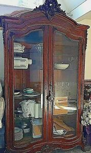 Antiquefrench Armoire Louis Iv Walnut Veneered Glass Doors Appraised 10 000