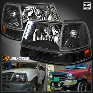 98 00 Ford Ranger Led Headlights Bumper Corner Lamps Black