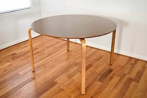 Vintage Mid Century Modern Table Thonet Bentwood Round Wood Dining Table Mcm