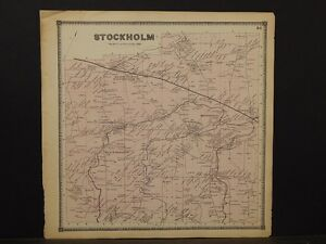 New York St Lawrence County Map Stockholm Township 1865 Y5 70