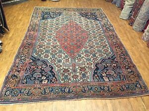 Antique Handwoven Persian Pure Wool Bijar Rug Size 8 4 X12 7 Circa 1900
