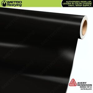 Avery Supreme Satin Black Vinyl Vehicle Car Wrap Film Sheet Roll Sw900 197 O