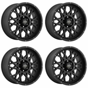 Set 4 18 Vision 412 Rocker Black Wheels 18x9 8x170 12mm Ford F250 F350 8 Lug