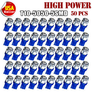 50 X T10 5 Smd Led Blue Super Bright Car Interior Lights Bulb W5w 194 168 2825
