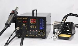 Aoyue 968a 3 in 1 Rework Station Hot Air Gun Soldering Iron Smoke Absorber