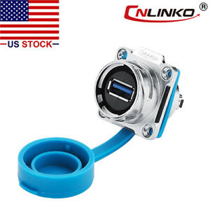 Cnlinko Usb 3 0 Panel Mount Connector Female Socket Waterproof Ip67 Data Power