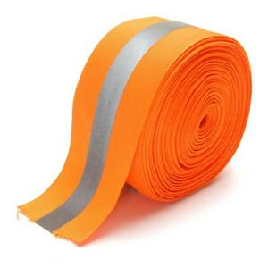Safety Silver Reflective Sew On Fabric Tape Strip Orange Vest 2 Us Shipper