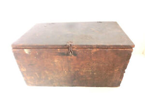 Early Antique Dovetailed Wood Wooden Primitive Storage Box Original Brown Paint