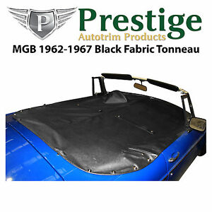 Mgb Tonneau Cover Black Fabric Canvas Without Headrest Pockets 1962 1967
