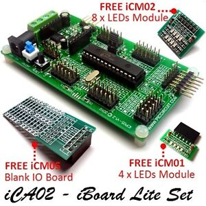 Ica02 Iboard Lite Set microchip 28pin Pic16f722 Plug Play Development Board