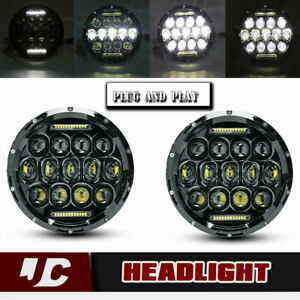 2x 75w 7inch Round Black Cree Freightliner Century Led Headlight High Low Beam