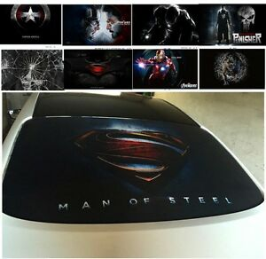 3d Transparent Car Back Rear Window Decal Vinyl Sticker Superman Iron Man