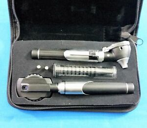 New Professional Led Fiber optic Mini Opthalmoscope Otoscope Diagnostic Set Blk