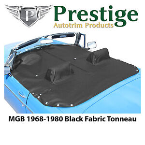 Mgb Tonneau Cover Black Fabric Canvas With Headrest Pockets 1968 1980