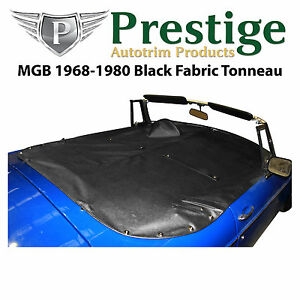 Mgb Tonneau Cover Black Fabric Canvas Without Headrest Pockets 1968 1980