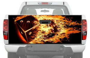 Flaming Dices Tailgate Graphic Decal Sticker Truck Pickup Wrap Fire Flame Black