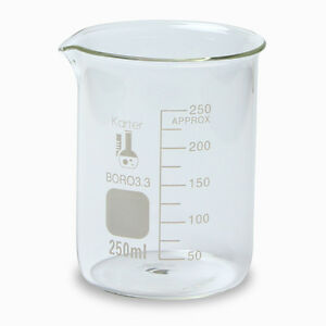 250ml Beaker Low Form Glass Graduated Karter Scientific