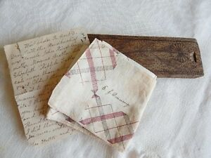 Edgar Downing Antique Hand Made Wood Pencil Box Handkerchief Letter From 1915