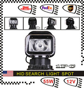 55w 12v Xenon Hid Search Work Light 360 Degree Remote Control Rotating Boat 4wd