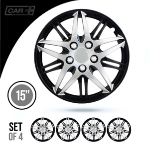 Set Of 4 Hubcaps 15 Wheel Cover Baru Silver Black Abs Quality Easy To Install