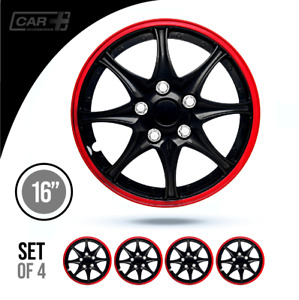 16 Inch Hubcaps daytona Abs Red And Black Easy To Install Set Of 4 Pieces