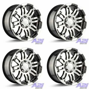 Set 4 16 Vision 375 Warrior Black Machined Wheels 16x8 5x5 0mm Jeep 5 Lug Rims