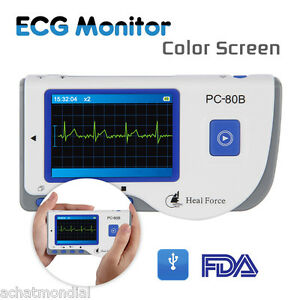Heal Force Pc 80b Handheld Color Ecg Heart Monitor Fda Approved 50electrode Pads