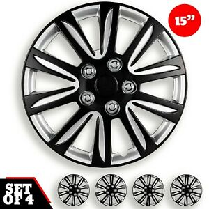 15 Inch Hubcaps Car Marina Bay 2 Tone Black And Silver Abs Set Of 4 Pieces