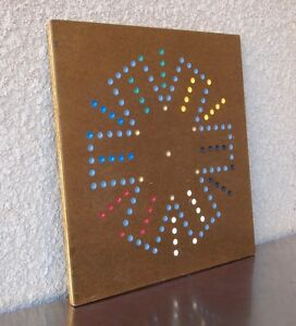 Old Chinese Checkers Marbles Wood Painted Game Board