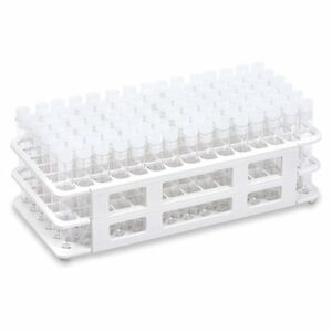 Kit With White Plastic Well Rack 90 Each 13x100mm Plastic Ps Tubes And Caps