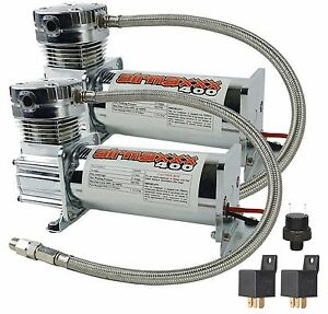 2 Air Compressors Chrome Airmaxxx 400 Air Suspension System Dual Pack 120 150