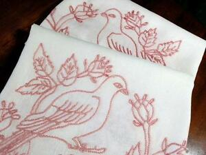 Antique Pure Linen Pillow Lay Over Set Turkey Red Love Bird 34x35
