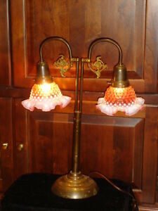 Fenton Double Piano Hobnail Cranberry Opalescent Brass Bronze Lamp 1 2