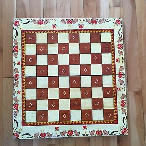 Vintage 2 Sided Folding Hand Painted Wood Folk Art Game Board Backgammon Chess