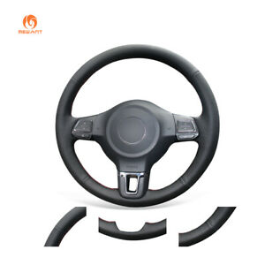 New Leather Pu Steering Wheel Cover For Volkswagen Vw Golf 6 Mk6 Jetta 6 Polo