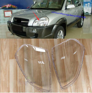 2pcs Front Headlamp Mask Transparent Shell Trim For Hyundai Tucson 2006 2012