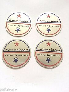 Set Of 4 American Racing Vintage Wheel Rim Center Cap Sticker Decal 1 75 44mm