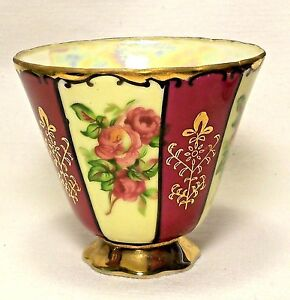Antique Royal Sealy China Co Footed Teacup Cup Burgundy Roses Gold Trim Japan