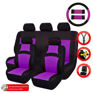 Car Pass Rainbow Summer Universal Fit Car Seat Covers Breathable Purple Color
